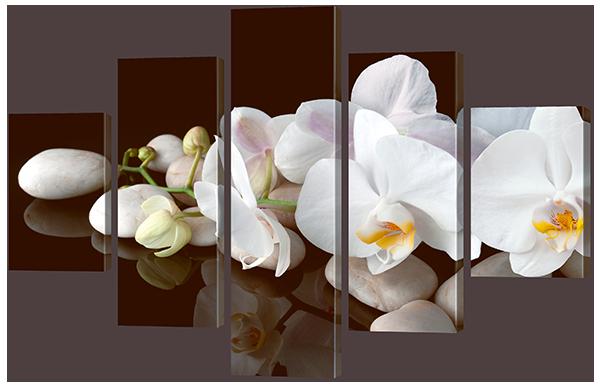 """Модульная картина """"Белые орхидеи на белых камнях"""""""