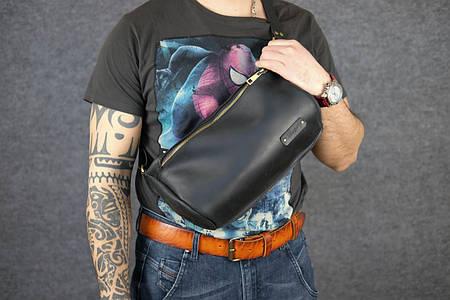 Мужская повседневная сумка-бананка  10157  Черный