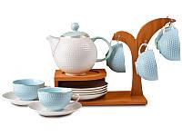 Чайный сервиз на деревянной подставке на 6 персон, 14 предметов, голубой Rombi, Lefard