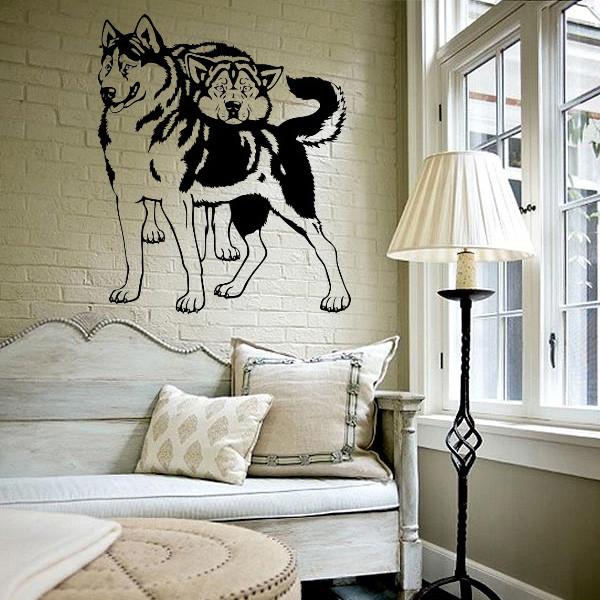Интерьерная виниловая наклейка на стену Хаски (наклейки животные собаки)