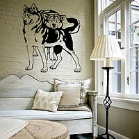 Интерьерная виниловая наклейка на стену Хаски (наклейки животные собаки), фото 1