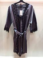 Женский шелковый халат + ночная рубашка с кружевом