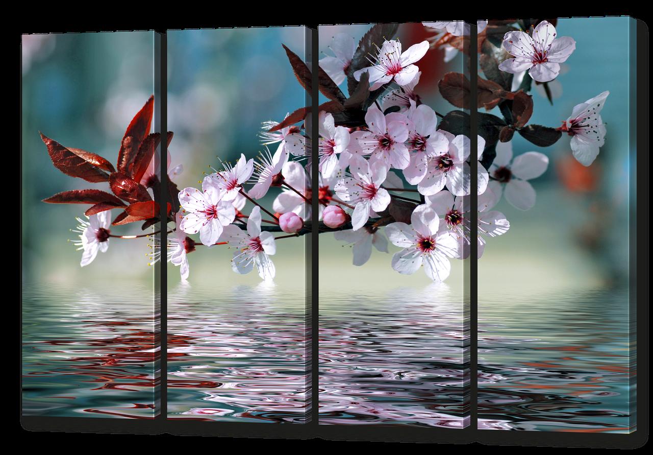 Модульная картина ветка сакуры и отражение