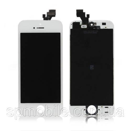 Дисплей iPhone 5, белый, с сенсорным экраном, с рамкой, Original