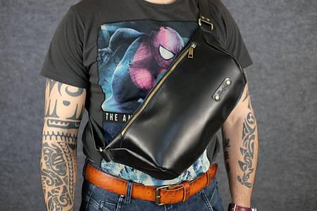 Мужская повседневная сумка-бананка |10167| Черный | Италия