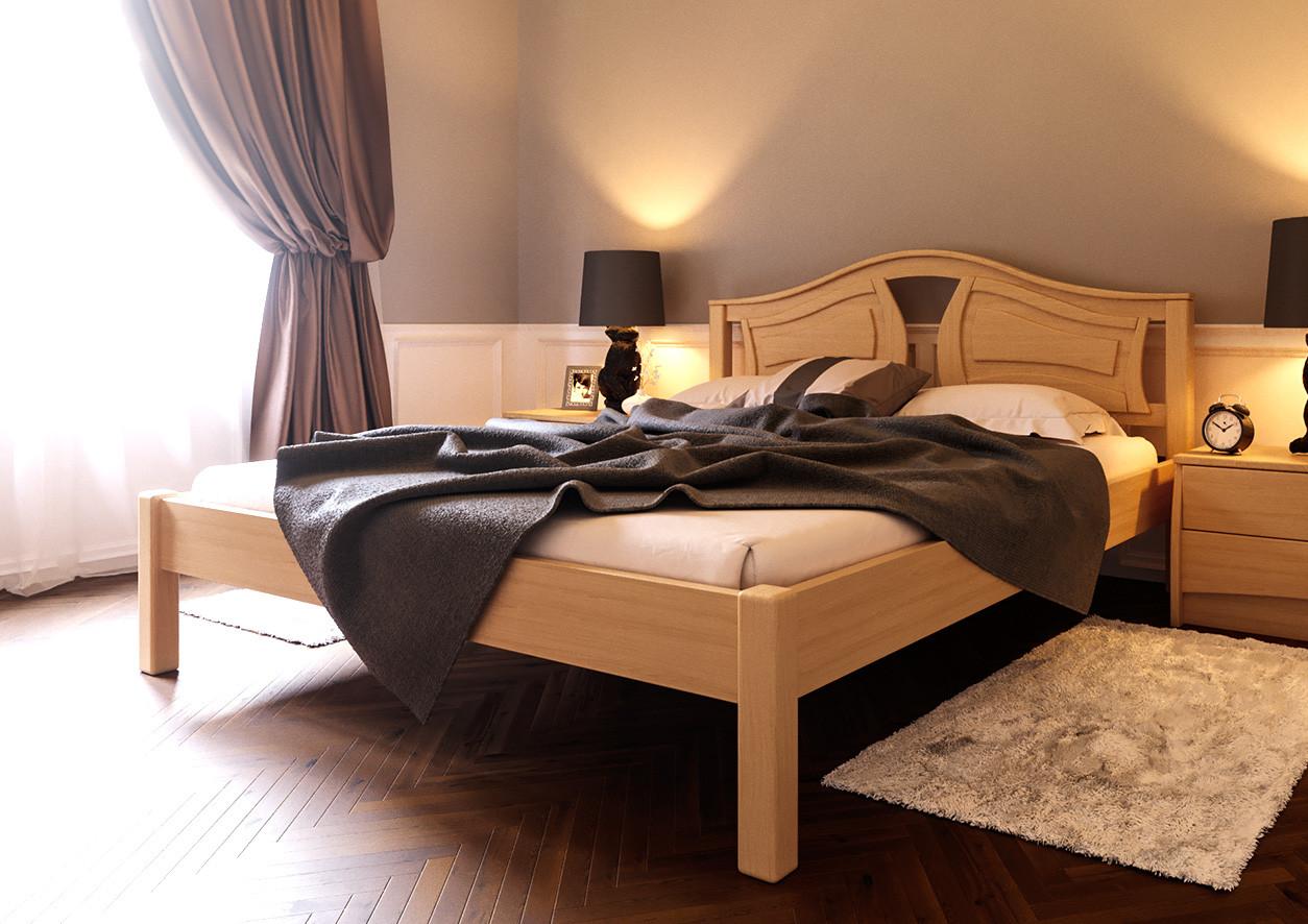 Ліжко півтораспальне з натурального дерева в спальню, дитячу (Вільха) 140х200 Італія ДОК