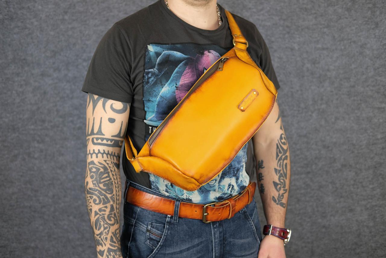 Мужская повседневная сумка-бананка |10168| Янтарь | Италия