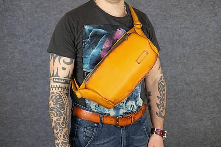 Мужская повседневная сумка-бананка  10168  Янтарь   Италия