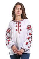 Вышитая дизайнерская женская рубашка белая с красными цветами, фото 1
