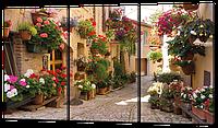 Модульная картина Аллея с цветами. Стелло в Умбрии. Италия