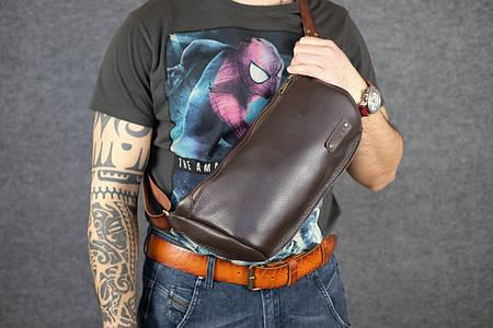 Мужская повседневная сумка-бананка |10169| Коричневый | Люксор