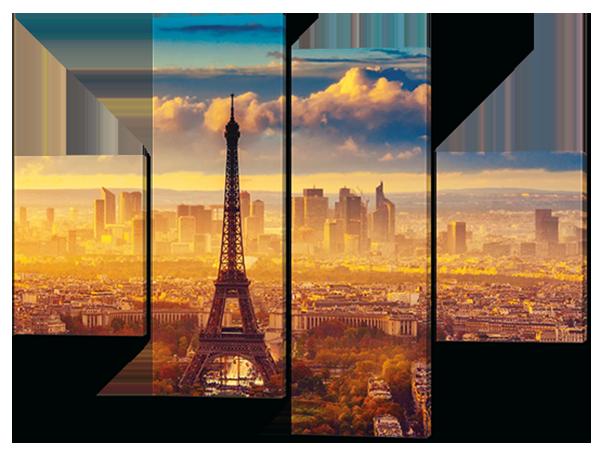 Модульная картина  Эйфелева башня с высоты