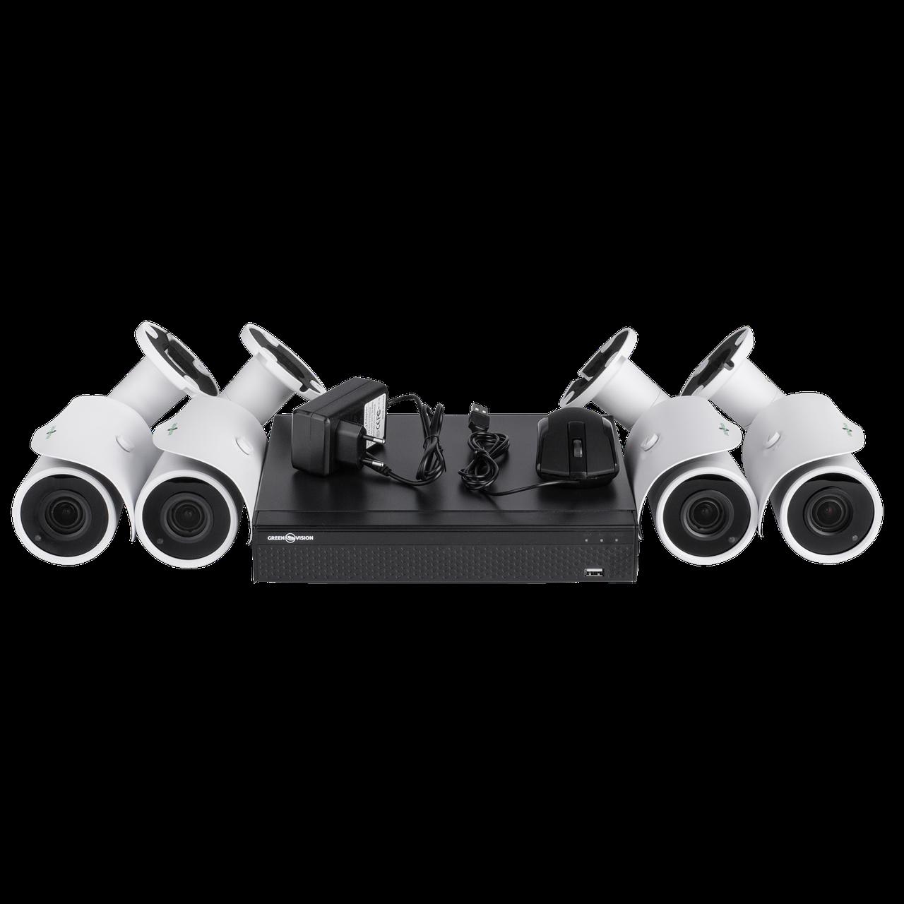 Комплект видеонаблюдения на 4 камеры Green Vision GV-IP-K-L19/04 1080P