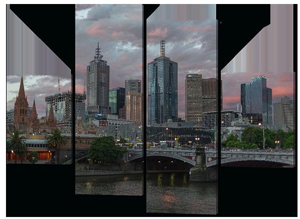 Модульная картина  Город.Мост