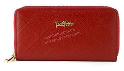 Кожаный прочный женский кошелек барсетка на две молнии SALFEITE art.2547-YR1 красный