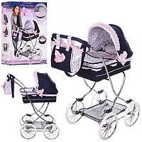 Коляска детская игрушечная для куклы 80214, классика, 90-45-80см, корзина, зонт,сумка, подушка,в кор-ке,