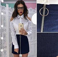Стильная юбка с молнией спереди | Джинсовая юбка с замком впереди
