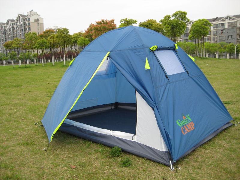 Палатка турисческие двухместная GREEN CAMP 1001 B  (синяя)