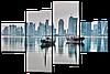 Модульная картина Море. Город. Лодки