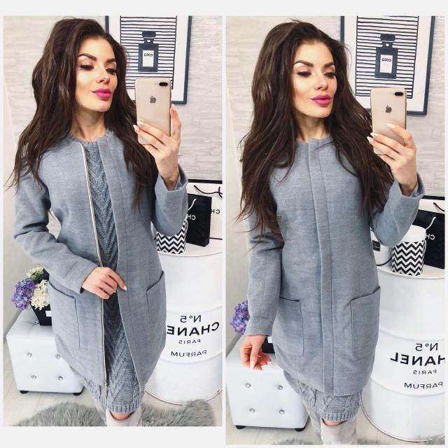 Пальто кашемир женское, модель 808, цвет - темно серый