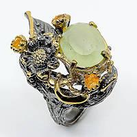 Кольцо серебро 925 пробы зеленый аквамарин