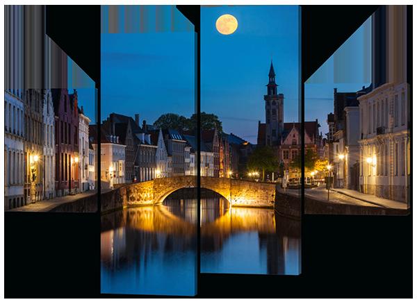 Модульная картина Ночной мост 126*93 см
