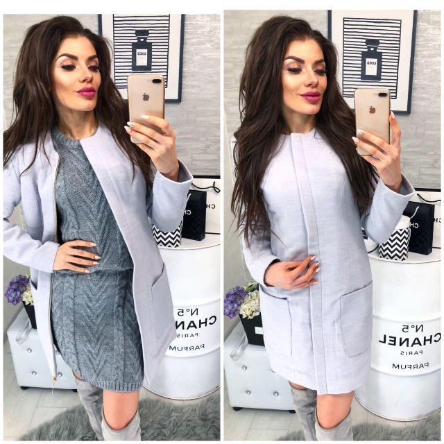 Пальто кашемир женское, модель 808, цвет - светло серый