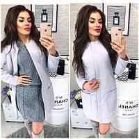 Пальто кашемир женское, модель 808, цвет - светло серый, фото 1