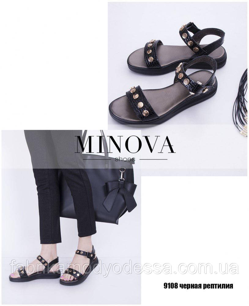 48952c6f7997 Босоножки на низком ходу черного цвета натуральная кожа Фабрика Украина ТМ  Минова (р.36-41)