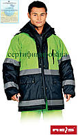 Куртка со светоотражающими полосками утепленная рабочая Reis Польша (спецодежда сигнальная) BLUE-YELLOW GY