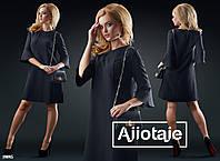Платье трапеция  с рукавчиком 3/4.- черный