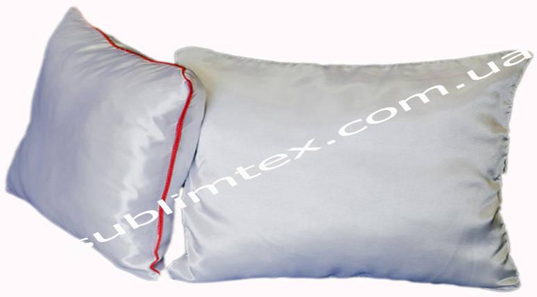 Подушка атласная,натуральный наполнитель, метод печати сублимация, размер 35х45см., Кант красный, фото 2