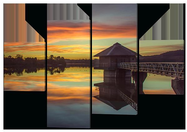 Модульная картина Дом и озеро