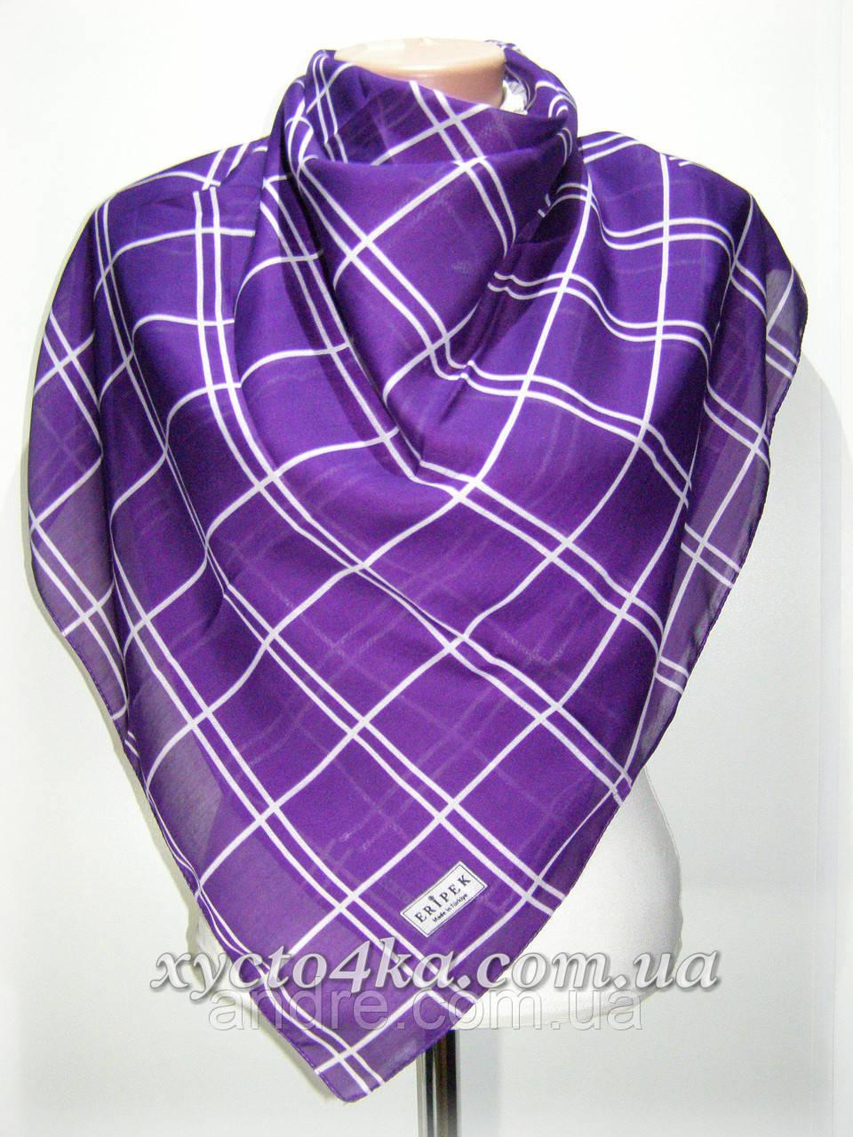 Платки на натуральной основе Клетка, фиолетовый