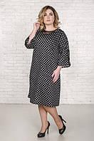 Красивое платье с гипюром размер плюс Янина горох (52-62)