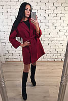 Кашемировое пальто женское ft-1026 бордо