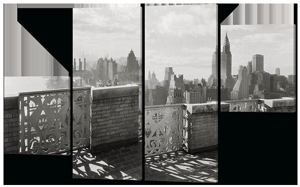 Модульная картина  Город в черно-белых отенках