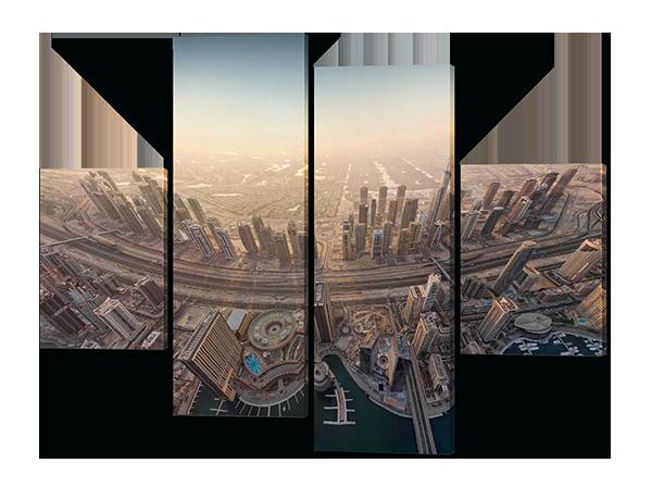 Картина модульная Город с высоты птичьего полета
