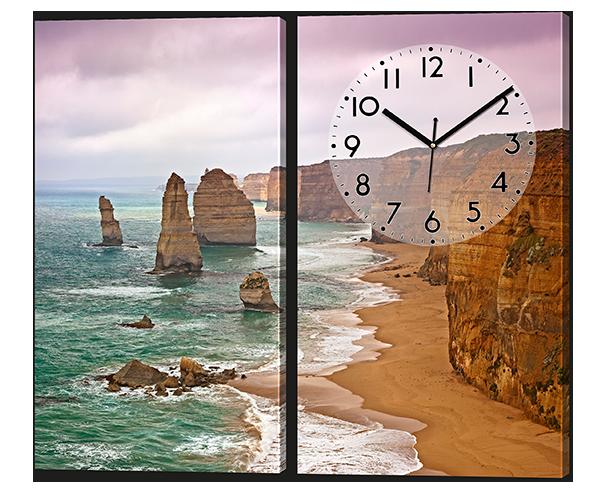 Модульная картина с часами из двух частей Берег ( море, скалы, пляж )