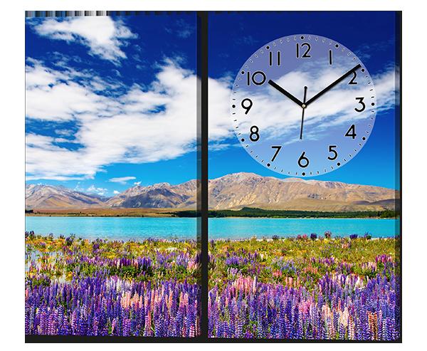 Модульная картина с часами Горный пейзаж 80*70 см