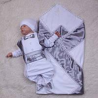 Хрестильний набір для хлопчика, Жемчуг+Фрак срібло