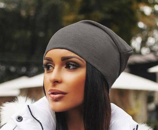 Женская трикотажная шапка чулок, цвет графит, фото 2