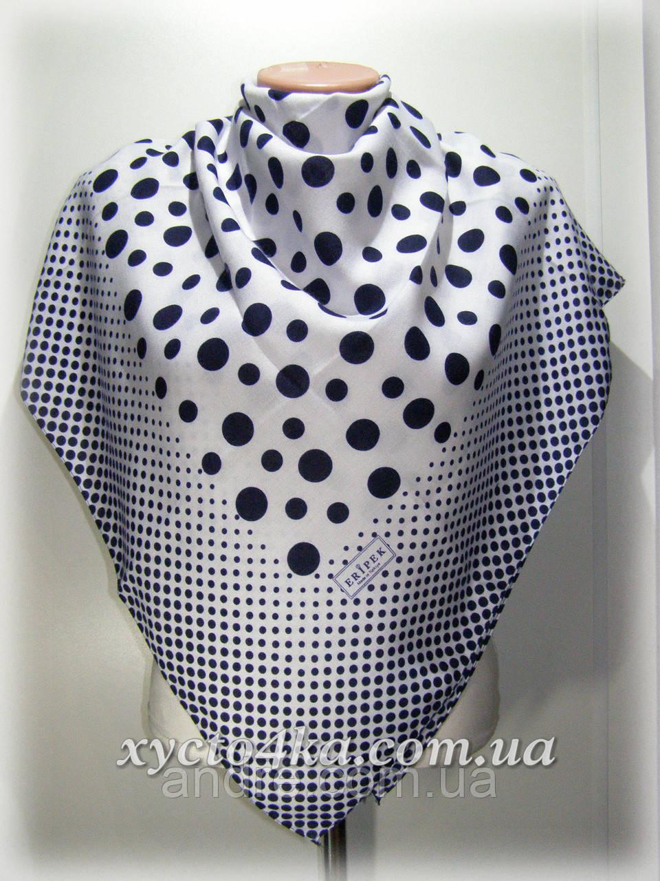 Кашемировый платок Горошек, белый с синим