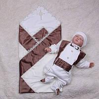 Крестильный набор для мальчика, Жемчуг+Фрак (шоколод)