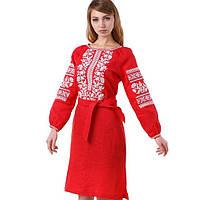 Яскрава жіноча вишита сукня червоного кольору (100%-льон)
