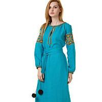 Вышитое платье цвета бирюзы