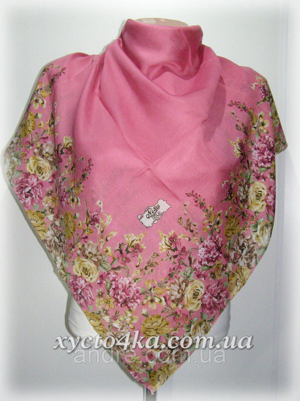Лёгкий натуральный платок, бледно розовый