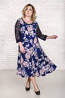 Нарядное  платье большого размера Надин темно-синий розы (60-66)