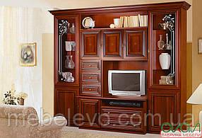 Капри витрина гостиная  2280х2720х540мм орех Караваджо + Лунгарно    Скай