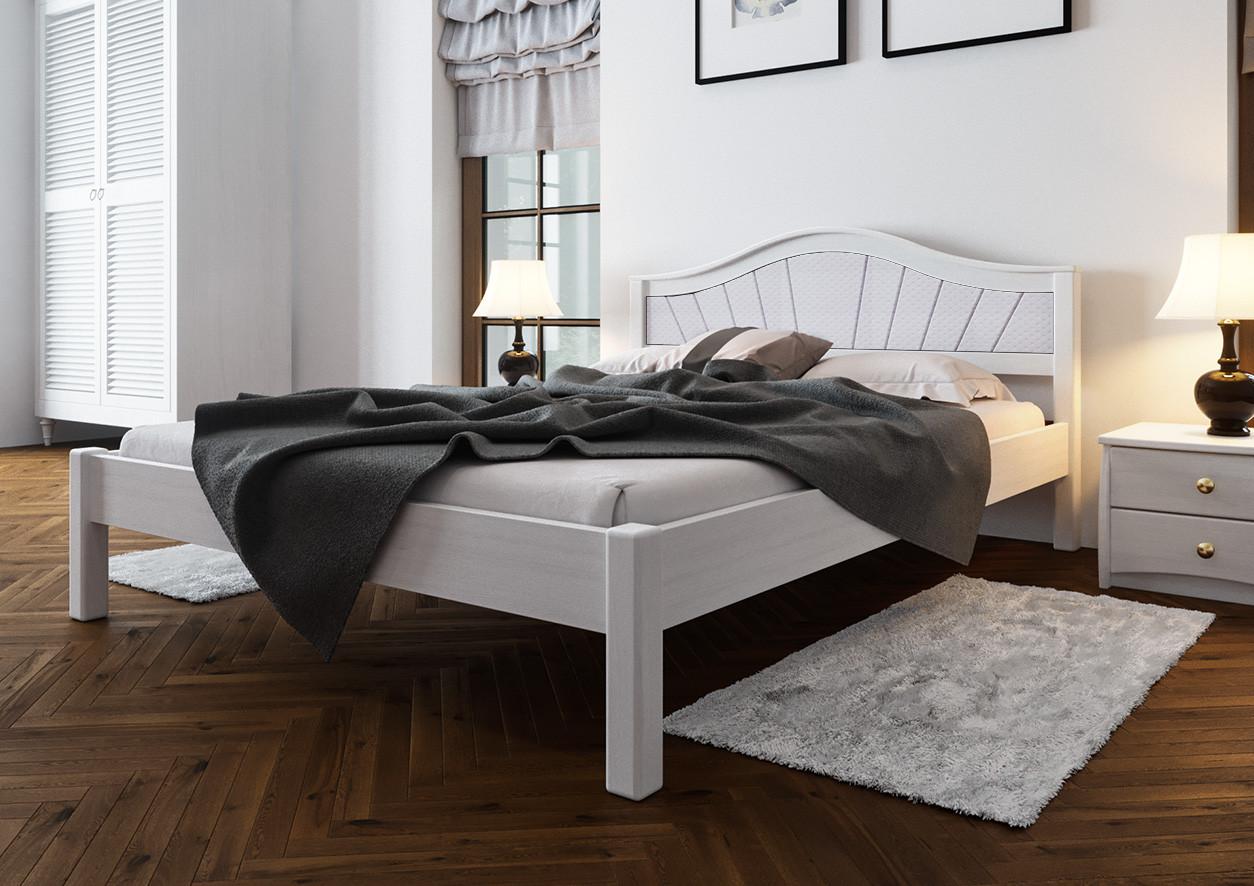 Ліжко півтораспальне з натурального дерева в спальню, дитячу м'яке узголів'я (Вільха) 140х200 Італія М ДОК